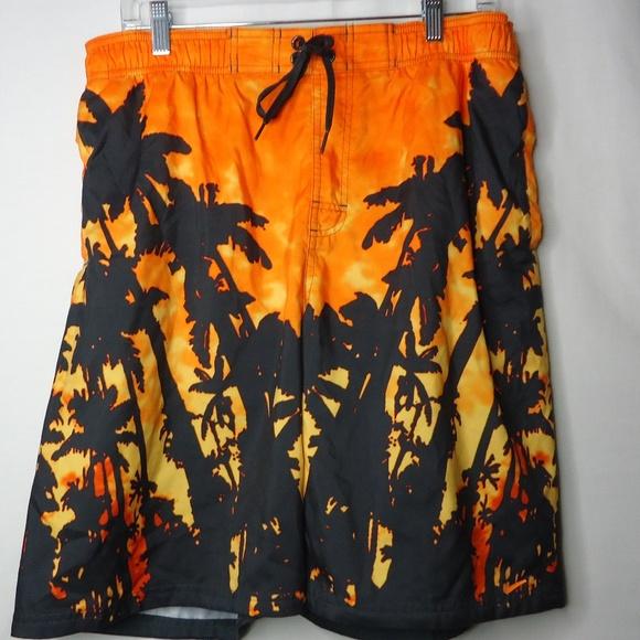 Nike Other - Nike Orange & Black Graphic Swim Large Shorts